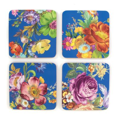 Flower Market Lapis Cork Back Coasters - Set of 4
