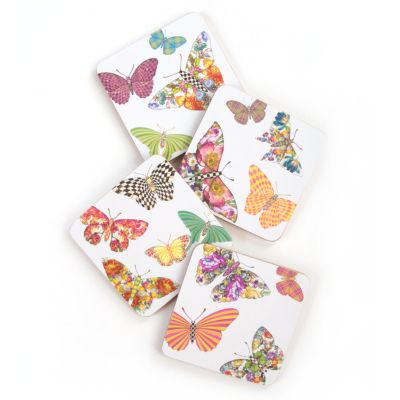 Butterfly Garden Coasters - White - Set of 4