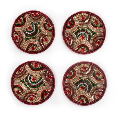 Savoy Holiday Beaded Coasters - Set of 4