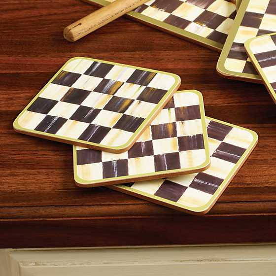 Courtly Check Cork Back Coasters - Set of 4 image four