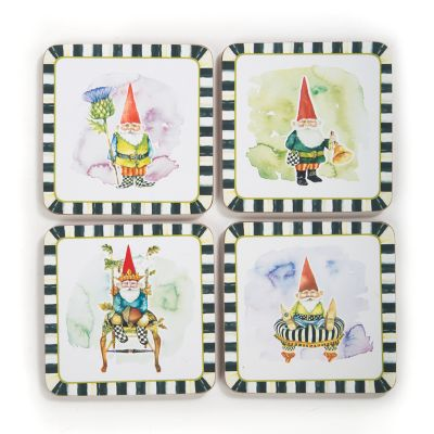 Home Sweet Gnome Cork Back Coasters - Set of 4