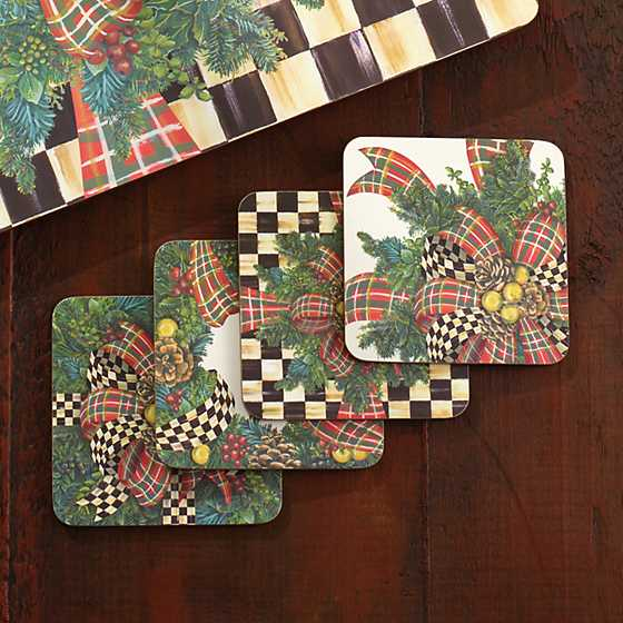 Evergreen Cork Back Coasters - Set of 4