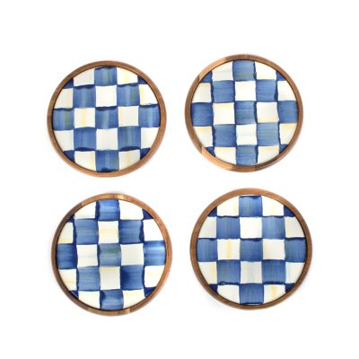 Royal Check Enamel Coasters - Set of 4