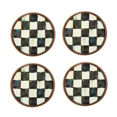 Image for Courtly Check Enamel Coasters - Set of 4