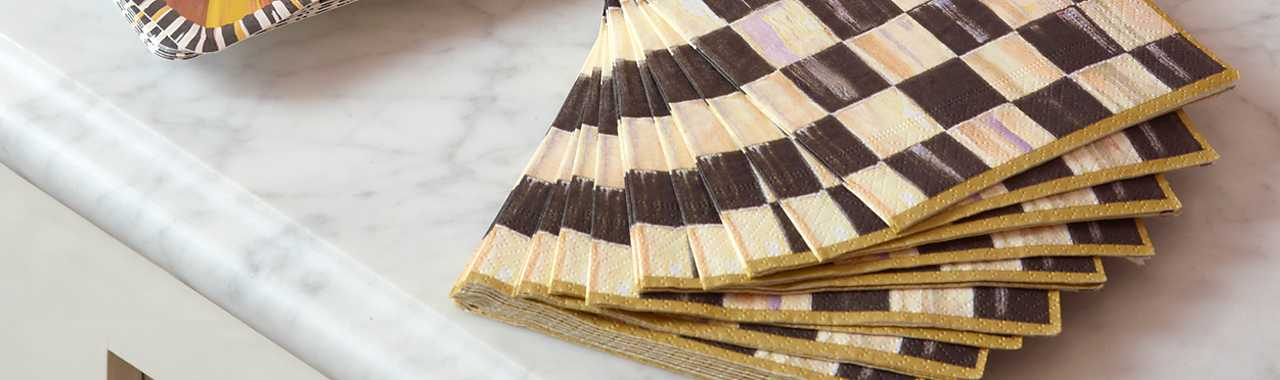 Courtly Check Paper Napkins - Cocktail - Gold Banner Image