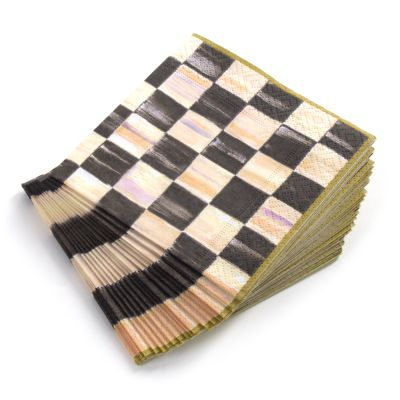 Courtly Check Paper Napkins - Cocktail - Gold