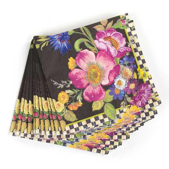 Flower Market Paper Napkins - Cocktail - Black image three