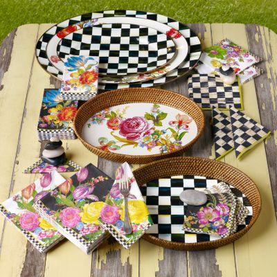 20 per Pack MacKenzie-Childs Flower Market Paper Napkins Cocktail Black