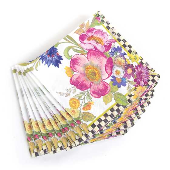 Flower Market Paper Napkins - Cocktail - White image three