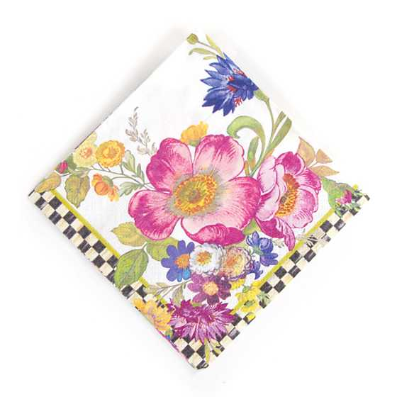 Flower Market Paper Napkins - Cocktail - White image one