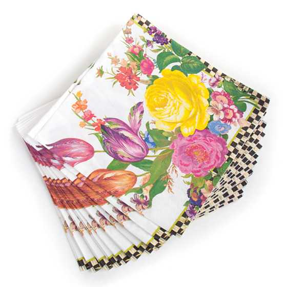 Flower Market Paper Napkins - Dinner - White image three