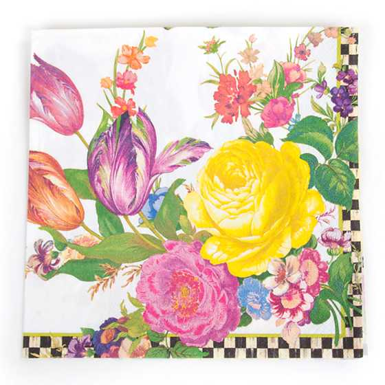 Flower Market Paper Napkins - Dinner - White
