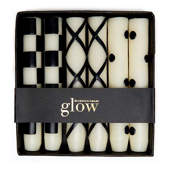 Mini Dinner Candles - Black & Ivory - Set of 6