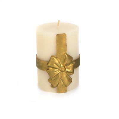 "Bow Pillar Candle - 4"" - Gold"