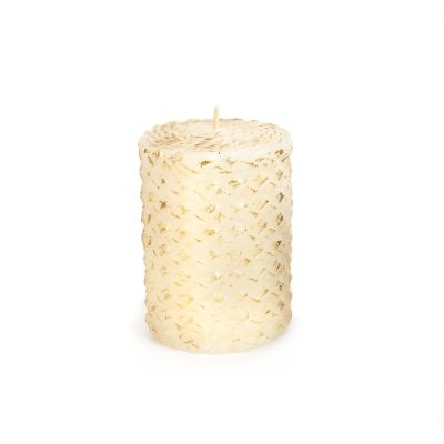 "Braided Pillar Candle - 4"" - Ivory & Gold"