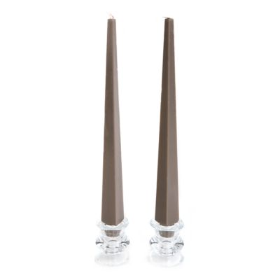 Trapezoid Palm Dinner Candles-Ash - Set of 2