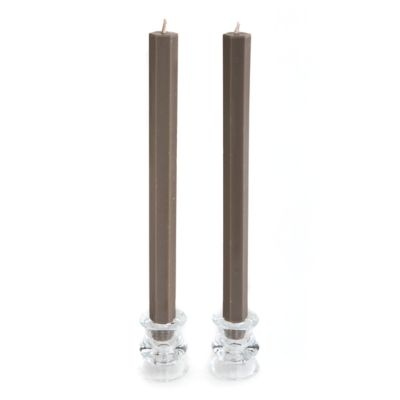 Hex Palm Dinner Candles - Ash - Set of 2