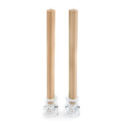 Hex Palm Dinner Candles - Driftwood - Set of 2