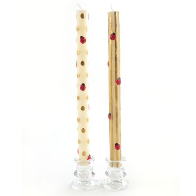 Ladybug Dinner Candles - Gold - Set of 2