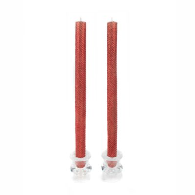 Shimmer Dinner Candles - Red - Set of 2