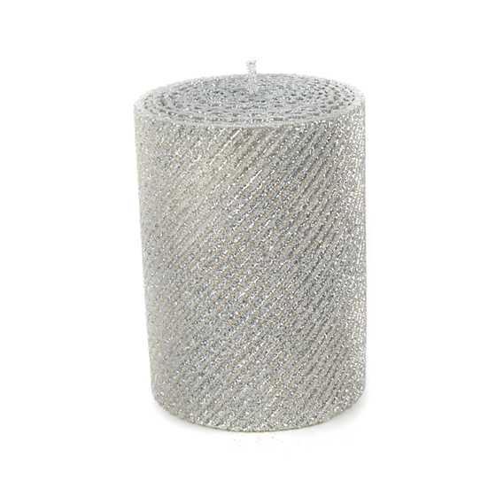 "Shimmer Pillar Candle - 4"" - Silver"