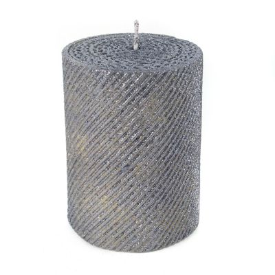 "Shimmer Pillar Candle - 4"" - Gunmetal"