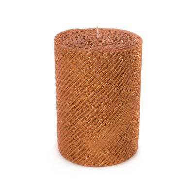 "Shimmer Pillar Candle - 4"" - Copper"