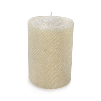 Shimmer Pillar Candle - Pearl