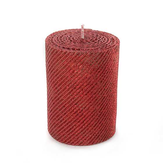 Shimmer Pillar Candle - Red
