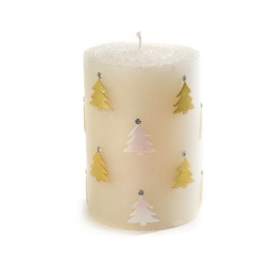 Christmas Tree Pillar Candle - Gold & Pearl