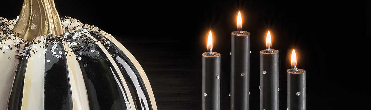Sparkle Dinner Candles - Black - Set of 2 Banner Image