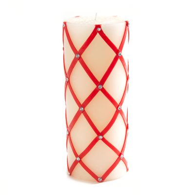 "Fishnet Sparkle Pillar Candle - 6""- Red"