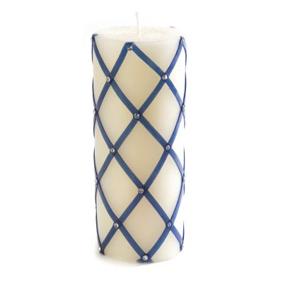 "Fishnet Sparkle Pillar Candle - 6"" - Royal"