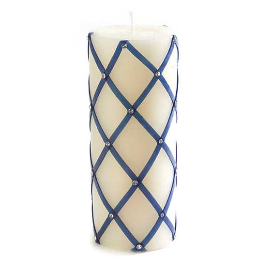 Sparkly Fishnet Pillar Candle - Blue image one