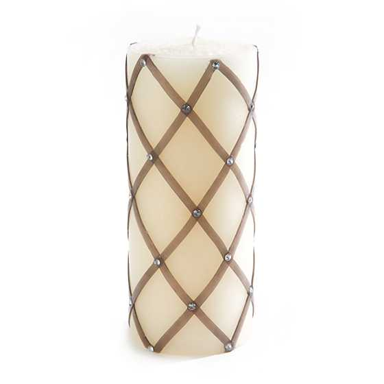 Sparkly Fishnet Pillar Candle - Silver