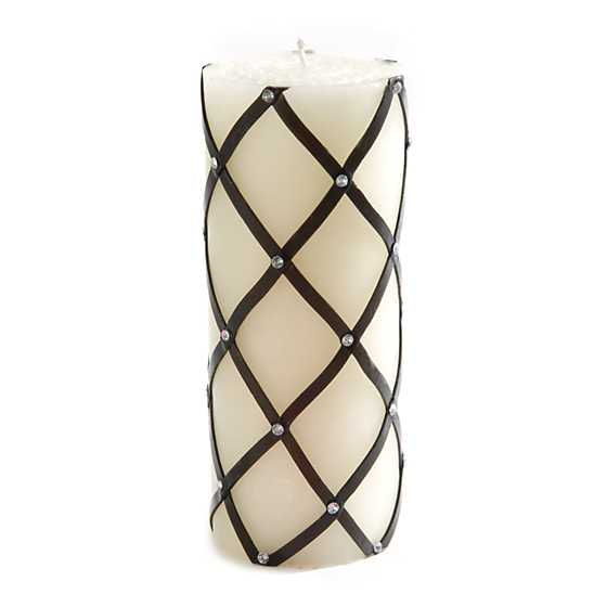 "Fishnet Sparkle Pillar Candle - 6"" - Black"