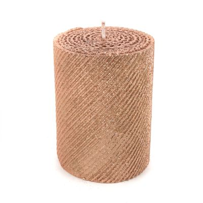 "Shimmer Pillar Candle - 4"" - Rose Gold"