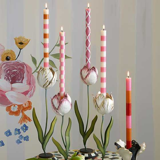Stripe Dinner Candles - Pink - Set of 2 image two