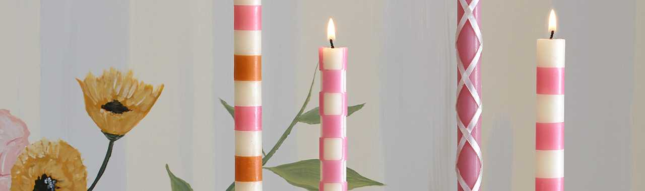 Stripe Dinner Candles - Pink - Set of 2 Banner Image