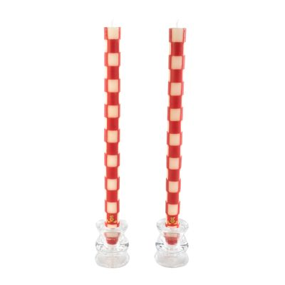 Check Dinner Candles - Red & Ivory - Set of 2