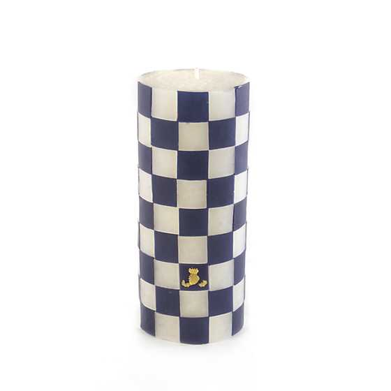 "Navy Check Pillar Candle - 6"" image two"