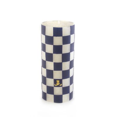 Navy Check Pillar Candle - 6""