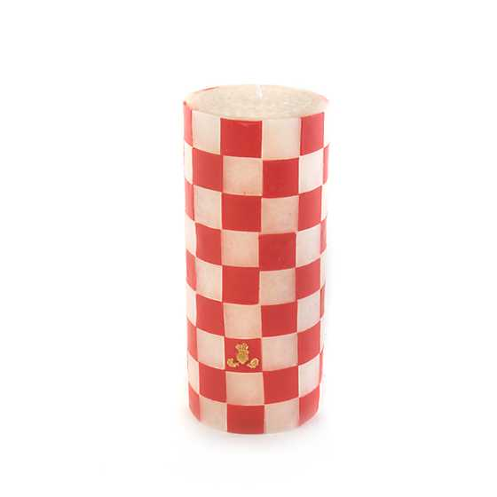 Red Check Pillar Candle - 6""
