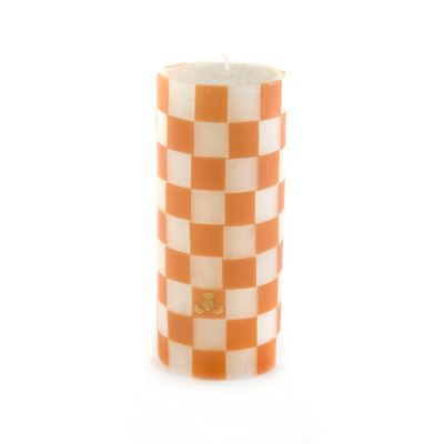 Clay Check Pillar Candle - 6""