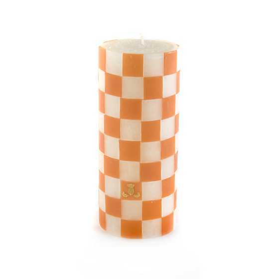 "Clay Check Pillar Candle - 6"" image one"