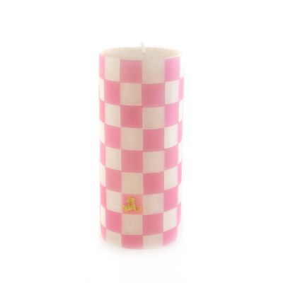Pink Check Pillar Candle - 6""