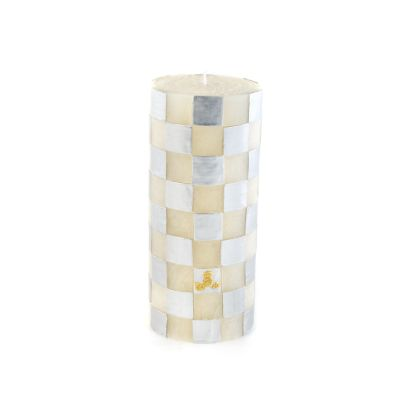Silver Check Pillar Candle - 6""