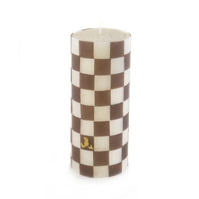"Check Pillar Candle - 6"" - Grey"