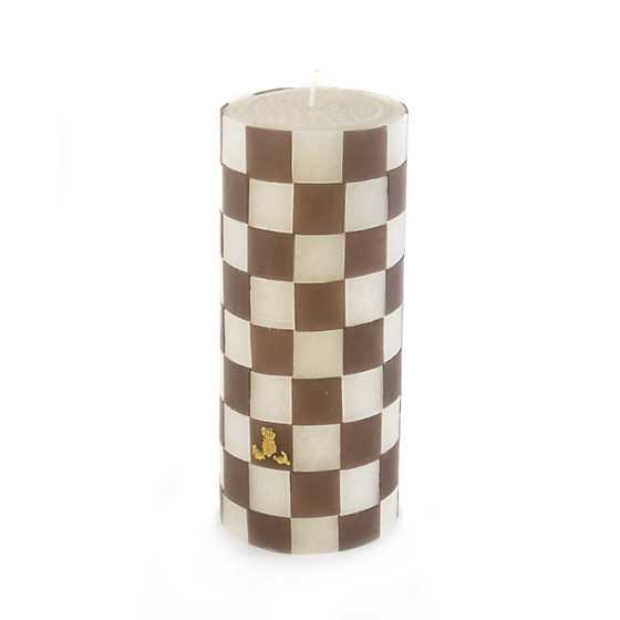 "Driftwood Check Pillar Candle - 6"" image one"