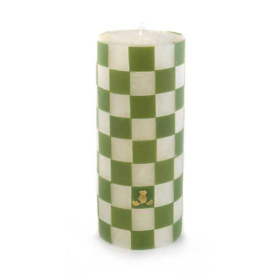 "Green Check Pillar Candle - 6"" image two"